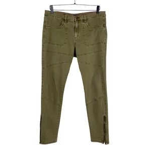 BDG Army Green Moto Ankle Zip Jeans UO High Rise